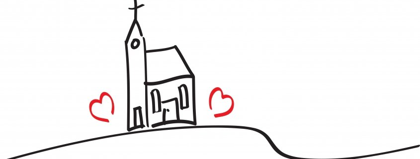 image of a church with hearts around it