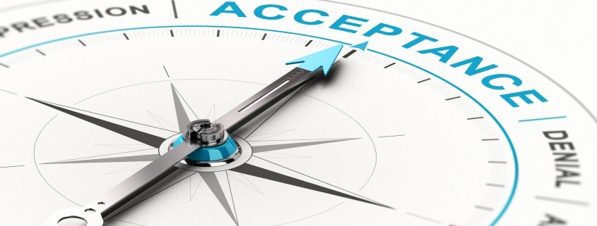 3D illustration showing a conceptual compass including the stage in the process of acceptance with needle pointing the word acceptance. Other steps shown include denial, anger, and depression.