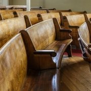 old wooden pews in a church