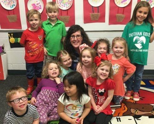 Ashley Belknap and kids at church