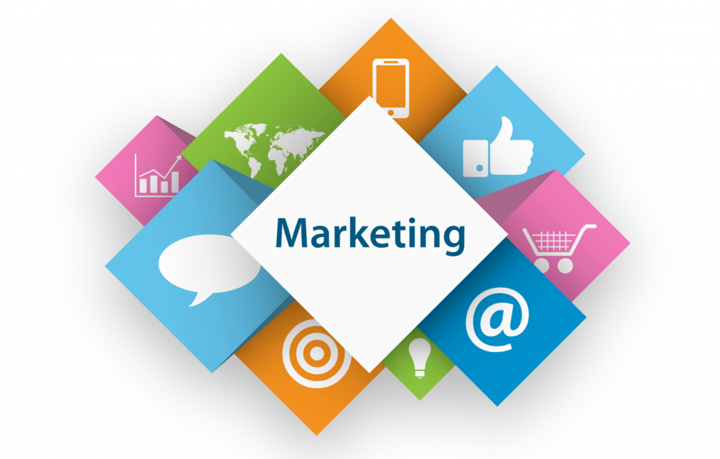 Graphic image illustrating various forms of marketing