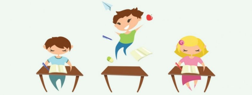 three kids at desks in classroom with one moving while the others sit focused on work