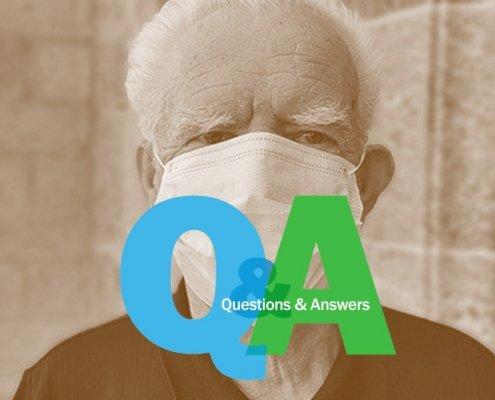 Q&A logo over an older man wearing a mask