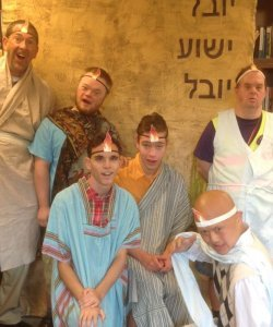 Kevin Daane acting out Bible story with friends with disabilities