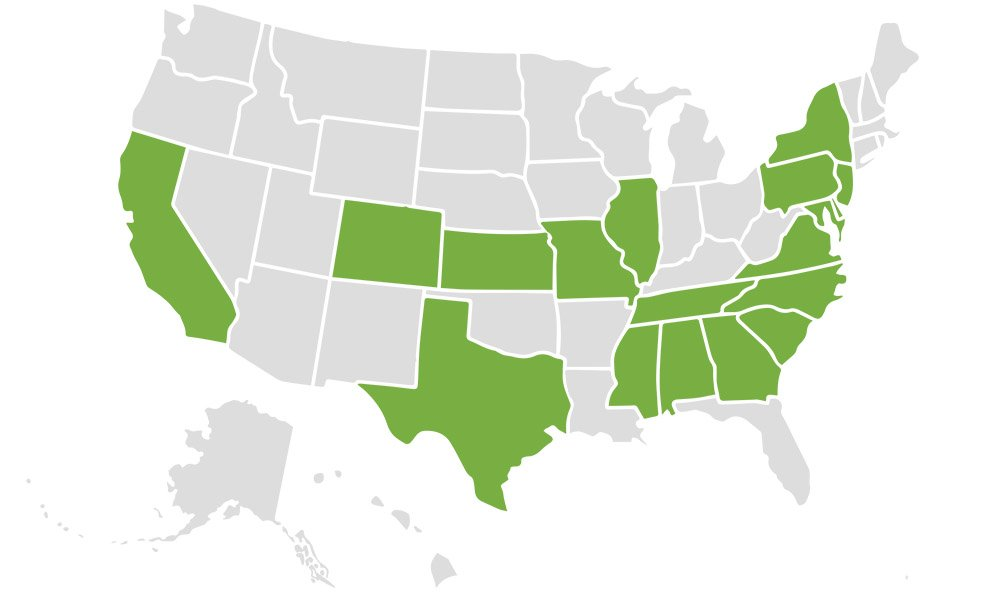 us-map showing states where there are churches with registered disability ministries
